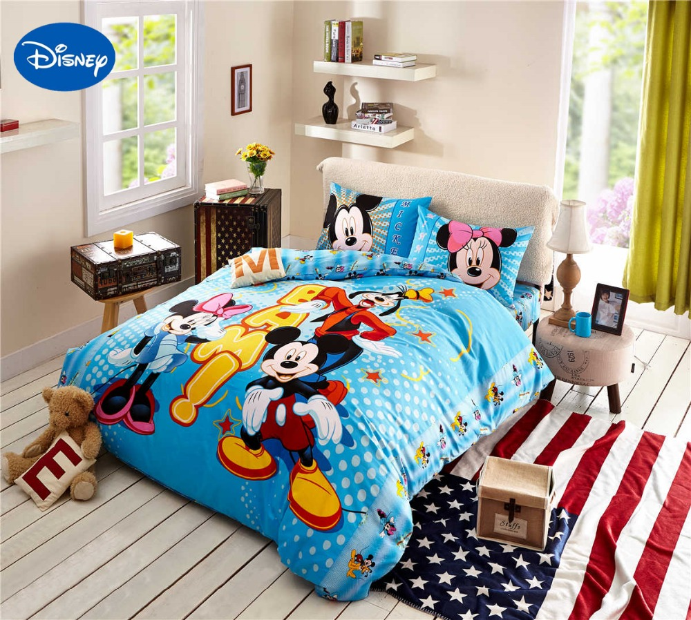 Cartoon Disney Print Bedding Set Cotton Blue Color Mickey And Minnie