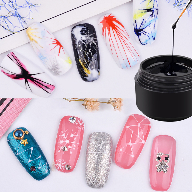 Creative Nail Art UV Gel Silk Spider Graffiti Design