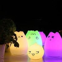 Rechargeable Silicone Chat Nuit Lampe Tactile Capteur Changer Mignon Chambre Lumière Respiration USB Enfants Animal Lampe Maternelle