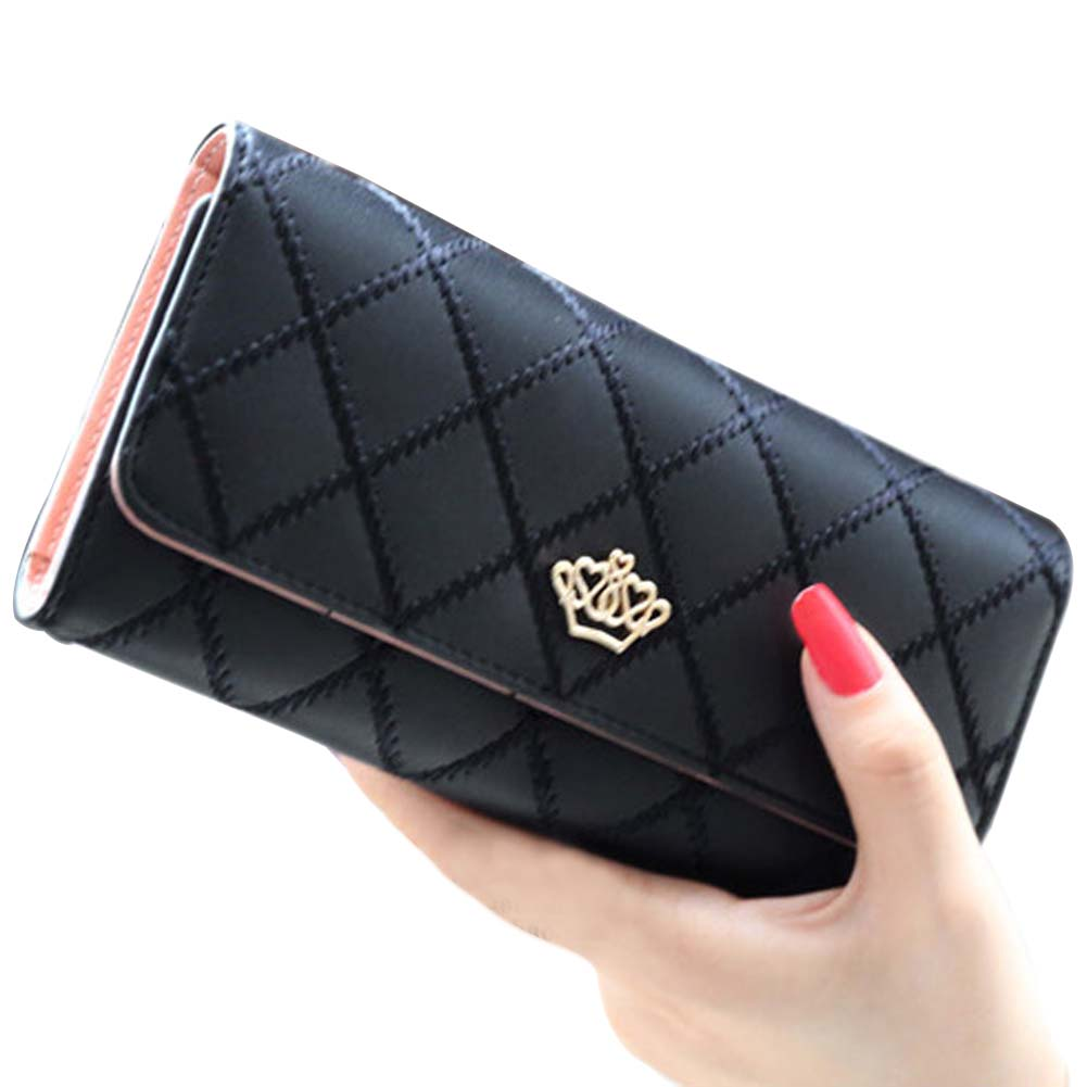 Fashion Womens Wallets Lattice Embroidery Flip Trend Crown Logo Hasp Purses Long Section Clutch Wallet Soft PU Leather Money Bag