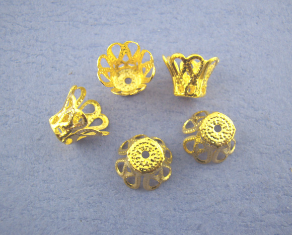 Alloy Beads Caps Cup Gold Color (Fits 8mm-10mm Beads) Pattern Pattern 9mm( 3/8
