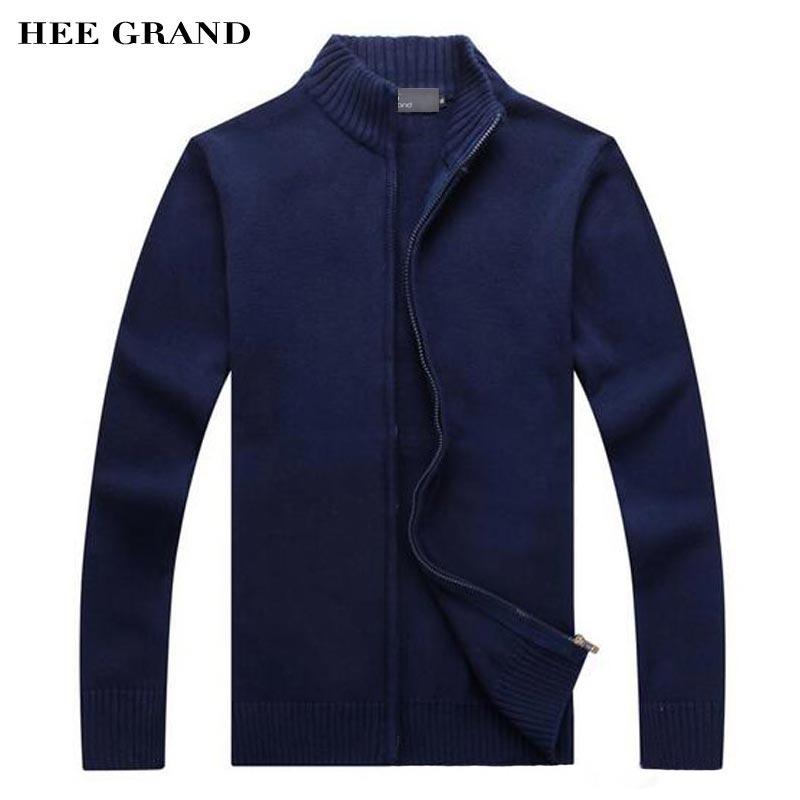 HEE GRAND Hommes Casual Chandail 2018 Nouveau Stand Col 100% Coton Matériau Mince Équipée Automne Zipper Cardigan Taille M-3XL MZM536