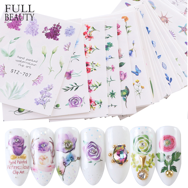 24pcs Nail Sticker Flower Elegant Watermark Slider Sets Colorful Polish Decals Wraps for Manicure Nail Art Accessory STZ707-730