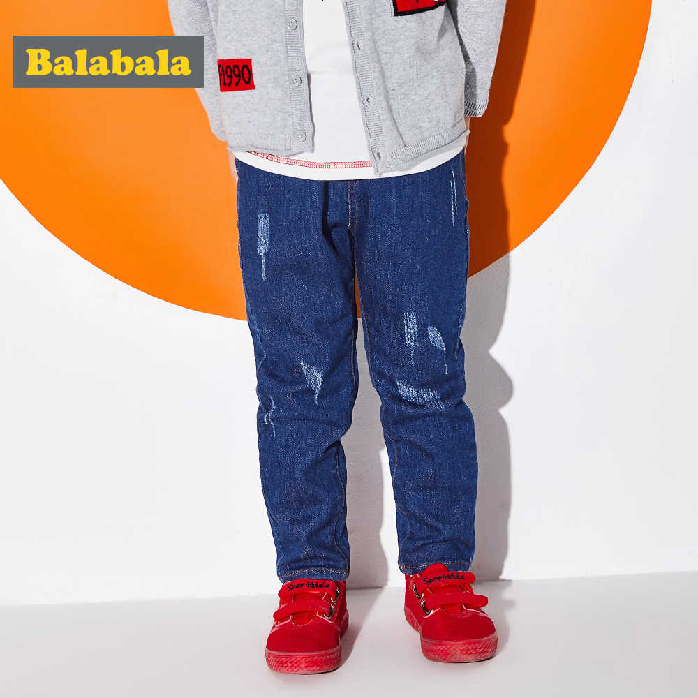 Balabala Toddler Boy Regular Fit Jeans in Washed Denim with Destruction Children Kids Cotton Pull-on Jeans Pants with Pocket