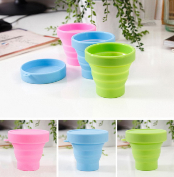 DHL 100pcs Travel folding cup telescopic cup silicone portable travel wash cup outdoor