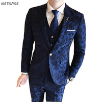 2017 New Autumn Winter Floral Groom Suit HIgh Quality Costume Homme Baroque Vintage MenS Suits Wedding Groom 3XL