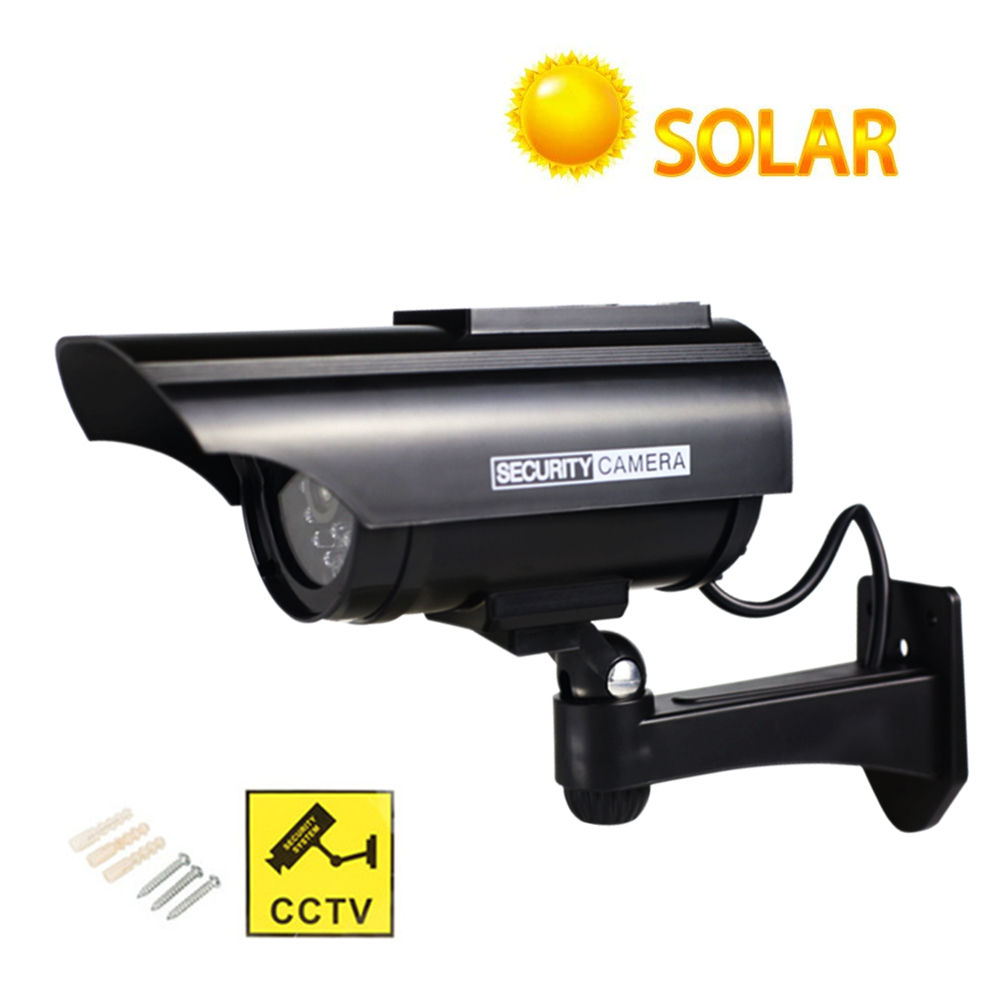 Solar Power Fake Camera Waterproof Simulation Outdoor Indoor Security CCTV Dummy Camera With LED Light Monitor Wholesale scare thieves simulation monitor camera