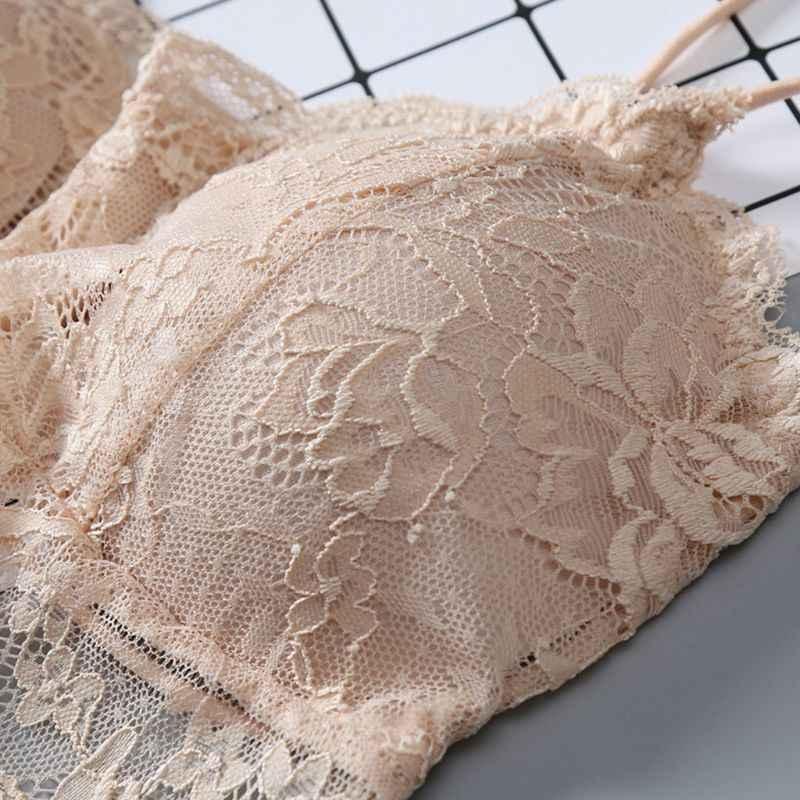 Женские цветочные кружева Bralette бесшовные с перекрестными ремешками косы бюстье сплошной Crop Top