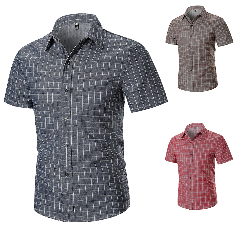 TAIZIQI Shirts Summer Small Plaid Short Sleeve Breathable Comfortable Suit For Business Traveling Home Shirt For Mens 1503A-C64