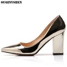 Ouqinvshen женские туфли-лодочки с острым носком Повседневное модные женские туфли ботинки на каблуках высокий каблук тонкие туфли обувь суперзвезды Женская Брендовая обувь