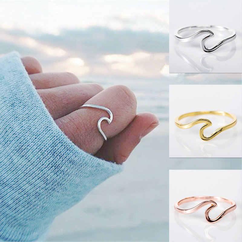 Venda quente Onda Anel 2-em forma de Homens e Mulheres Anel Amigável Liga de Metal Simples Prata, Ouro, cor de rosa de Ouro Jóias Mão