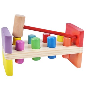 Banco Batendo Com um Martelo de madeira Kids Preschool Brinquedos Multifuncional Caixa de Ferramenta de Manutenção Do Bebê Combinação Porca
