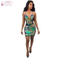 Красочные с глубоким v-образным вырезом сексуальные тонкие коктейльные платья на бретельках для ночного клуба с блестками градиентные женские вечерние платья дешево DQG725
