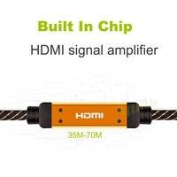 Наиболее прочный нейлон плетеный Позолоченные кабель HDMI мужчинами встроенный IC V1.4 1080 P 3D HDTV 25 м 30 м 35 м 40 м 45 м 50 м 60 м