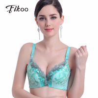 Fikoo Sexy Eyelashes Deep V Lace Bras For Women Plus Size Lingerie Push Up Thin Bralette