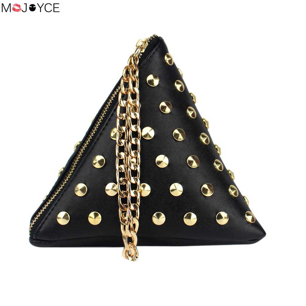 0584fb70d0 Triangle sacs pour femmes designer Rivet en cuir sac à main D'embrayage de  Soirée de Dame Bandoulière feminina Bracelet Petit sac à Main bolsa feminina