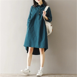 2018 New Spring Autumn Cotton Line Dress Women Vintage Literature  Long Sleeved Shirt Dresses Female Vestidos Z302 3