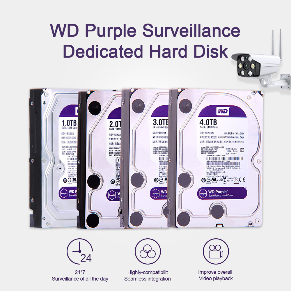 Western Digital WD Purple Surveillance HDD 1 to 2 to 3 to 4 to SATA 6.0 go/s 3.5 disque dur pour caméra cctv AHD DVR IP NVR