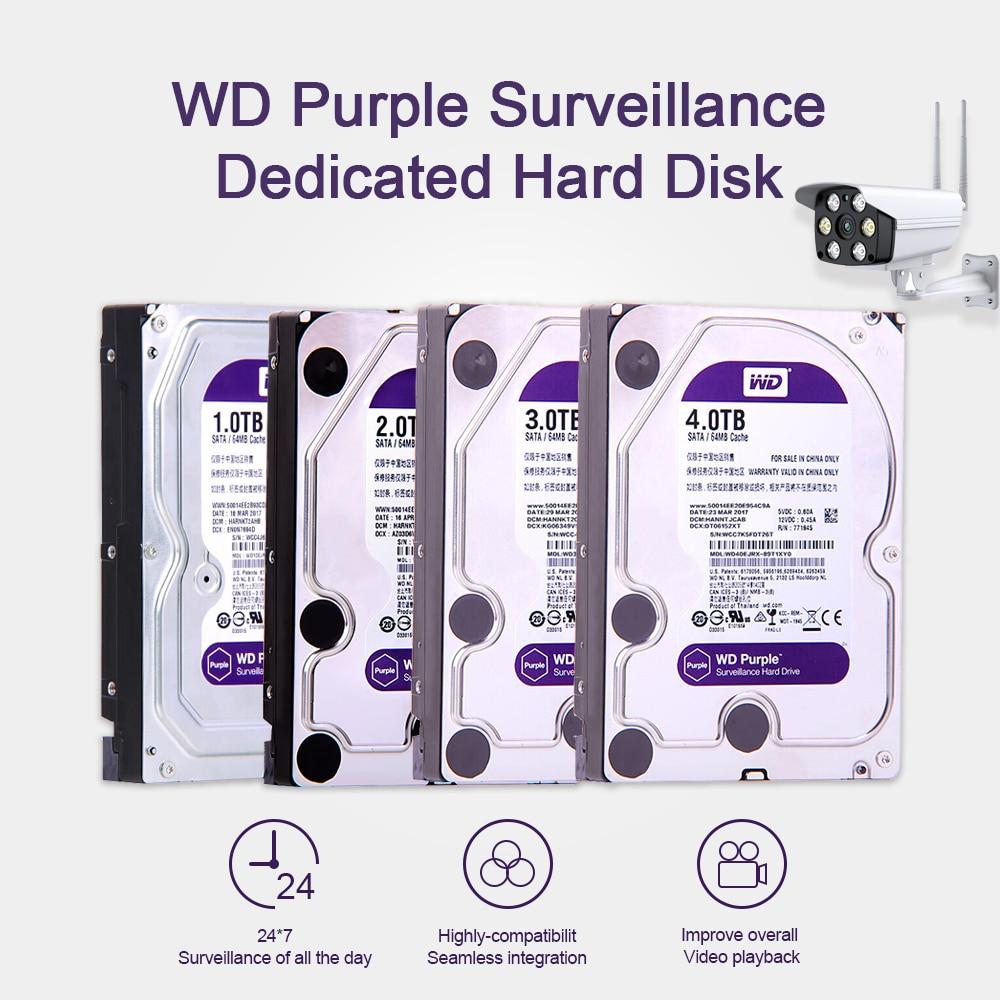 Western Digital WD Purple Surveillance HDD 1TB 2TB 3TB 4TB SATA 6.0Gb/s 3.5 Hard Drive for cctv Camera AHD DVR IP NVR