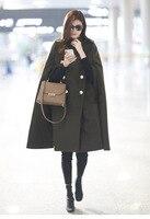 Urumbassa женские шерстяные Плащ, пальто 2018 Весна посадочных полосах зеленый плащ пальто высокого качества Военная Униформа пальто мода шерстя