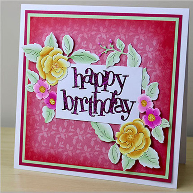 2018 DIY Happy Birthday Cards Metal Cutting Dies Stencil Embossing Scrapbooking Handmade Paper Card Making Photo Album Decor
