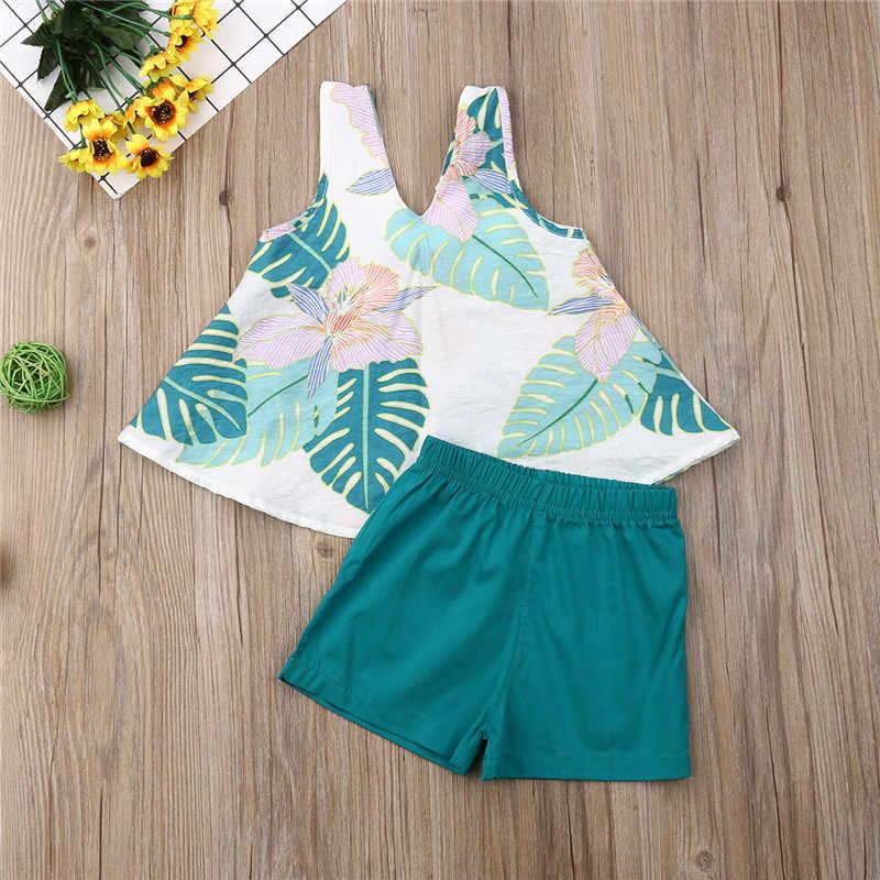 2019 החדש Boho ילדי תינוק בנות סטי בגדי 2 Pcs עלים הדפסת שרוולים קשת צמרות אפוד + מכנסיים קצרים אלסטי ילדים ילדה תלבושות 1-6Y