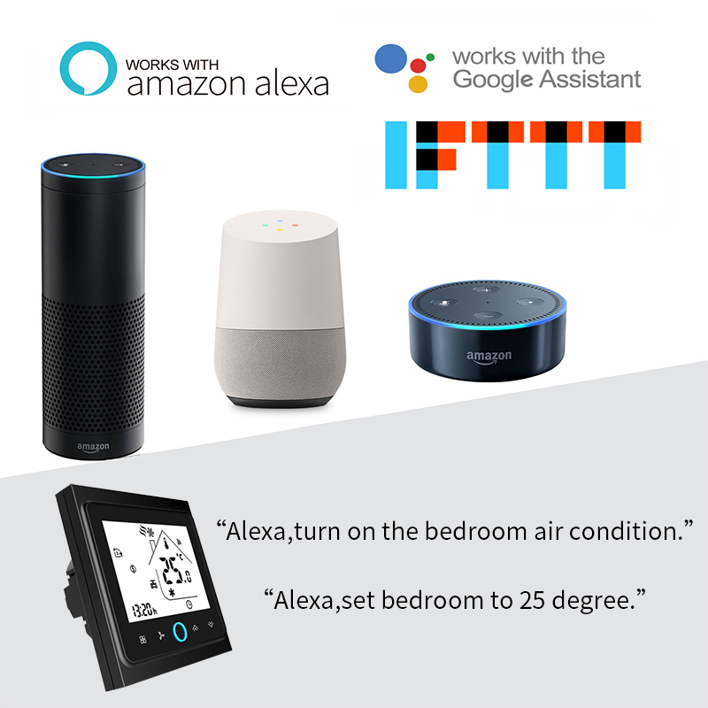 4 Pipe WiFi Smart Central Air Conditioner Thermostat Temperature Controller 3 Speed Fan Coil Unit Work with Alexa Google Home