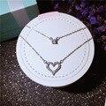 Marca de lujo 925 joyería de plata esterlina aaa cz circón diamante del amor del corazón collares y colgantes doble choker collar llamativo
