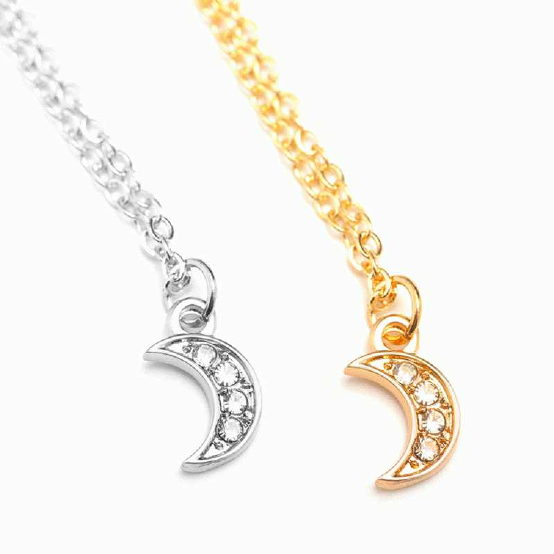 Fashionable Women Lady Necklace Moon Shape Pendant Rhinestone Decoration Jewelry