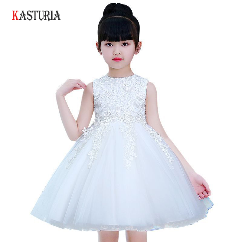 2018 New kids dresses for girls dress elegant lace summer princess dress flower o-neck sleeveless ball gowns unicorn party dress купить недорого в Москве