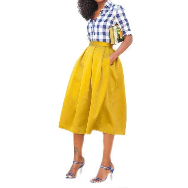 Amarelo elegante Meados de Bezerro Saias Primavera Estilo Com Bolso Estilo Custom Made A Linha de Saias Para As Mulheres Com Zíper