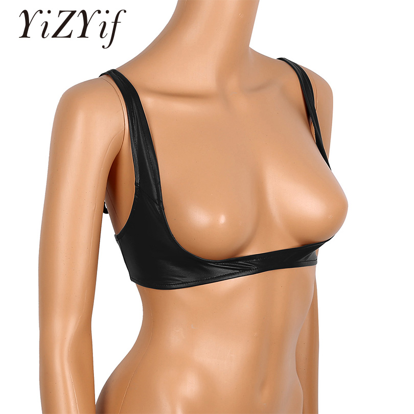 YiZYiF Sexy Women's Exposed Breasts Nipples Bra Lingerie Fashion Faux Leather Adjustable Wire-free Open Cup Shelf Bra