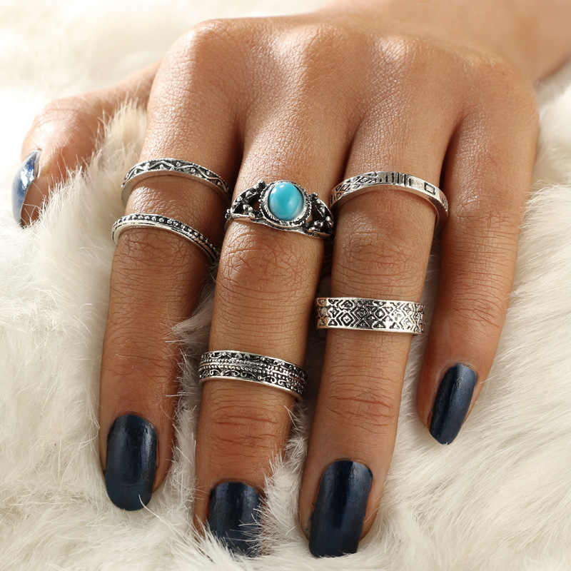 Кольца для суставов палец слона для женщин панк животное Фатима рука Корона черный камень тотемные кольца набор ювелирных изделий