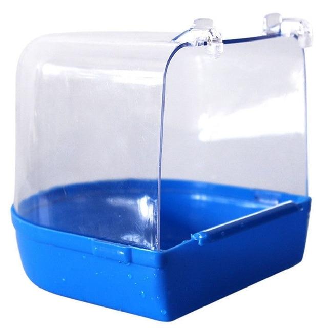 1Pc Plastic Bird Water Bath Box Bathtub Parrot For Parakeet Lovebird Finch Pet Cage Hanging Bowl Parakeet Birdbath