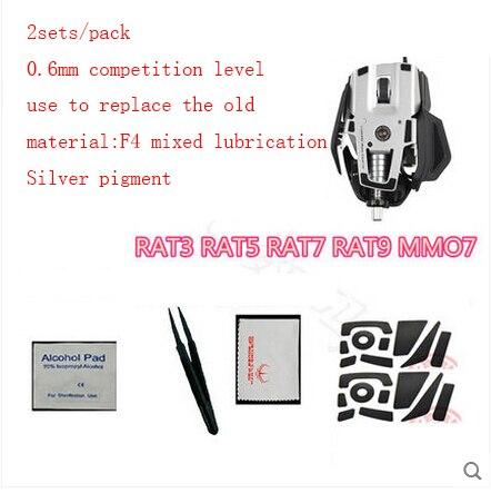 2sets/pack original hotline games 0.6mm competition level mouse feet for Saitek RAT3 RAT5 RAT7 RAT9 MMO7 gaming mouseskate