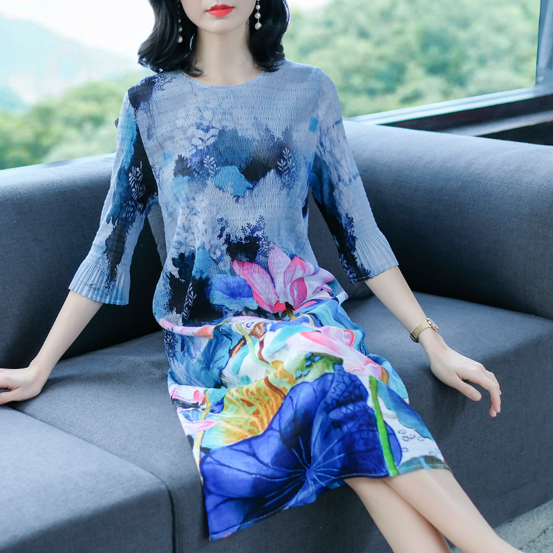 Chinese Style Retro Ink Printed Dress 2019 New Spring Pleated Big Size Dress