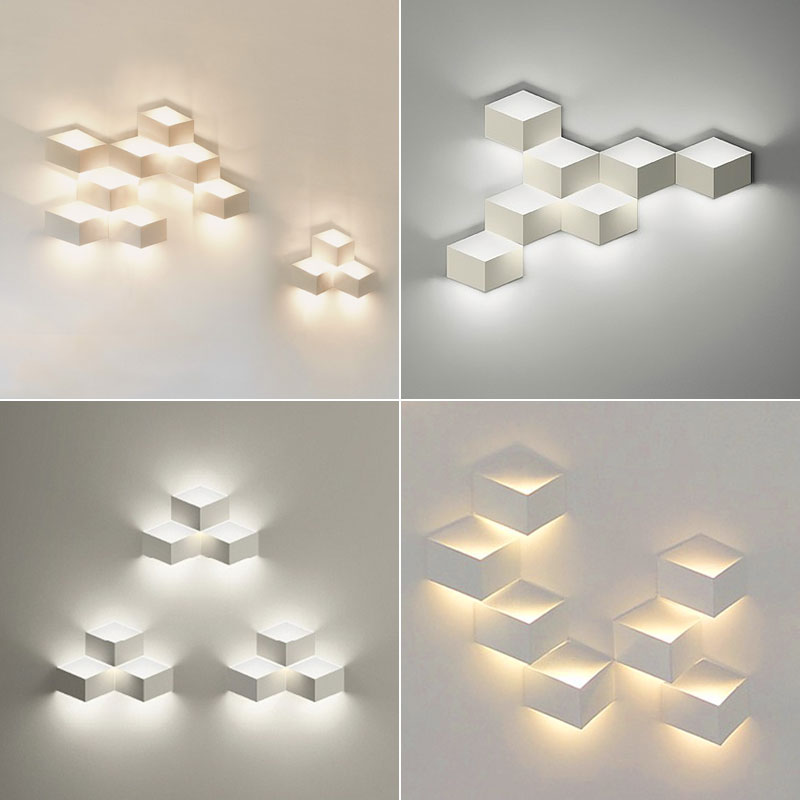 1/3/5 heads Designer DIY Led 3d Combination Of Decorative Wall Geometry Square Wall lights Geometry Square Grid Box Indoor Light все цены