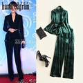 Autumn and winter the new European and American V-neck long-sleeved suit jacket + casual waist wide leg pants suit