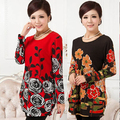 20 COLORS! XL,XXL,3XL,4XL,5XL Big Plus Size Winter Dress for Women 2016 Flower Printed Casual Dress Woman Tunic Vestido De Festa