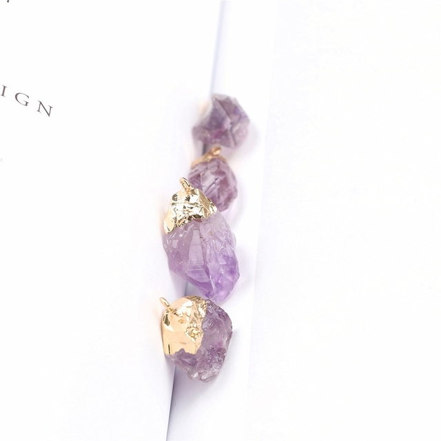 1PC Purple Natural Amethyst Gemstone Pendant Quartz Crystal Point Healing Stone Long Chain Necklace Amethyst Pendant Home Decor 6
