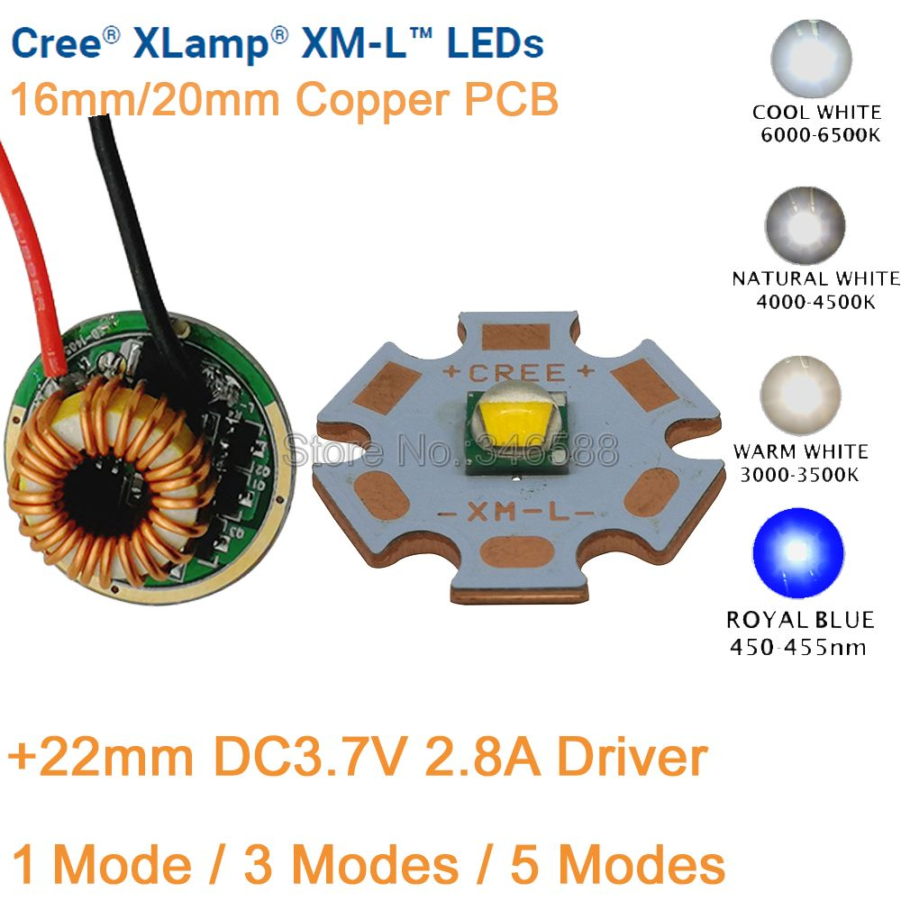 CREE XML XM-L T6 10W Cool White Neutral White Warm White High Power LED Emitter Chip 20mm Copper PCB + 12V Input 22mm LED Driver