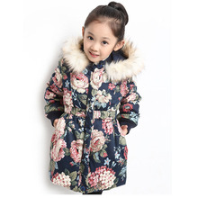 Winter Jackets For Girls Fashion Floral Print Girls Parka Coats Warm Cotton-padded Hooded Children Outerwear 4 8 10 12 14 Years children s winter warm cotton padded jacket toddler girls coats and jackets children girls parka girls clothes age 3 10 year