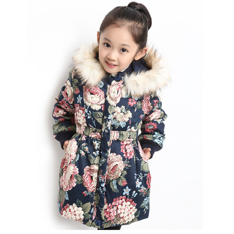 Winter Jackets For Girls Fashion Floral Printed Girls Parka Coats Warm Cotton-padded Hooded Children Outerwear 4 6 8 10 12 Years женская утепленная куртка shang feier 4055 2014women winter cotton padded jackets coats slim parka