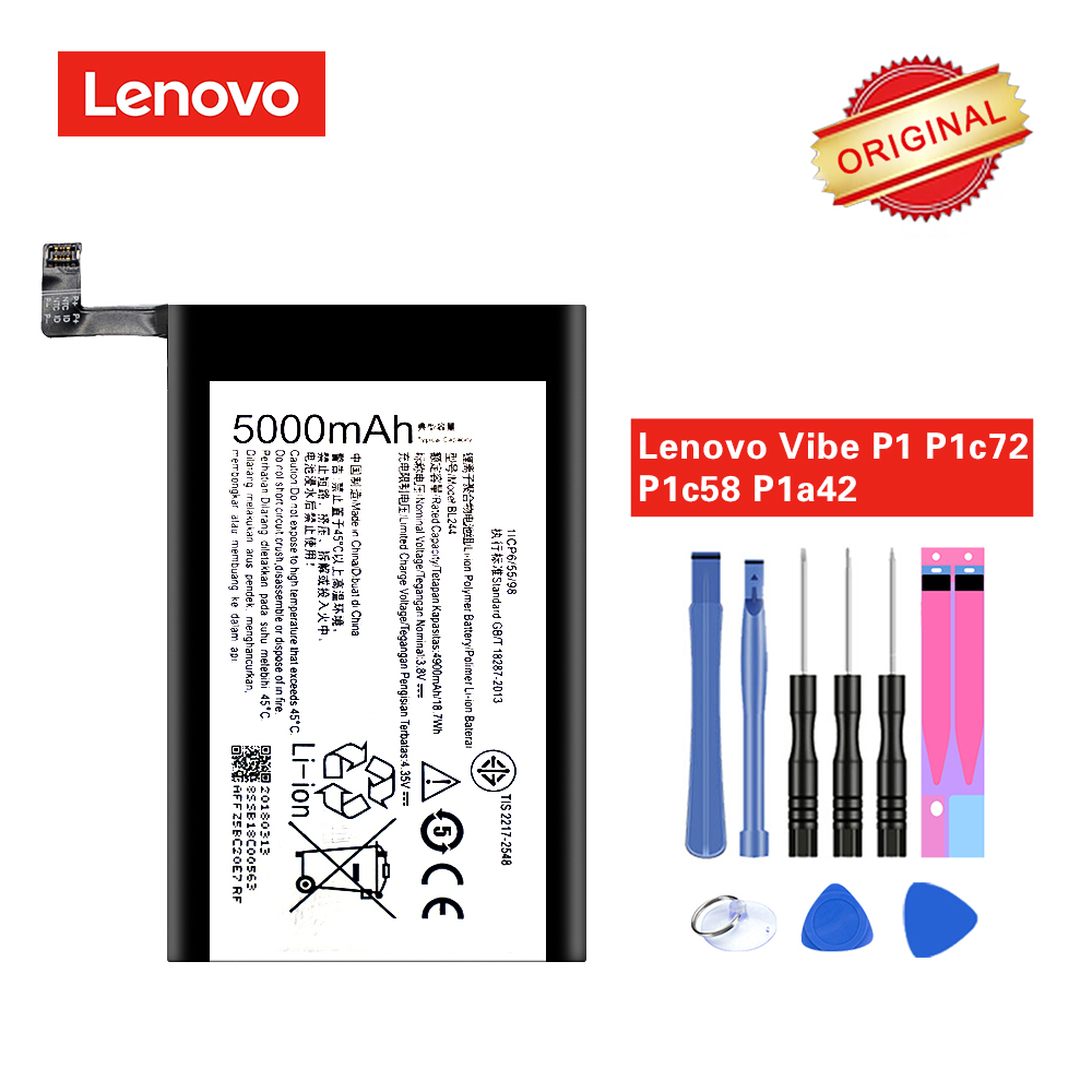 BL244 Bateria Original para Lenovo Vibe P1 P1A42 P1C58 P1C72 Li-ion de Alta Qualidade 5000 mAh com Ferramentas de Reparo