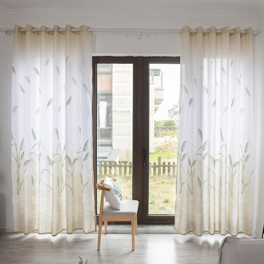 Us 9 05 14 Off Leaves Sheer Curtain Tulle Window Treatment Voile Drape Valance 1 Panel Fabric Reed Wood Grain Polyester Washable Curtain By In