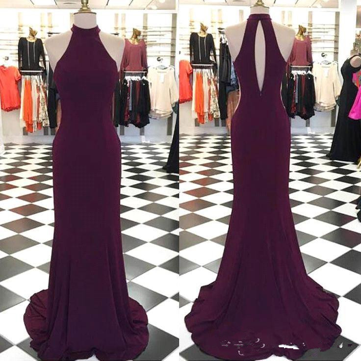 2019 Grape Sleeveless   Prom     Dresses   High Collar Mermaid Hollow Out Sexy Simple Long Evening Gowns Party   Dress   Spandex