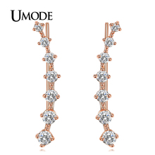 UMODE 2016 New Four-Prong Setting 7pcs Rose / White Gold Plated Ear Hook Stud Earrings For Women Jewelry Fashion Trendy AUE0197A