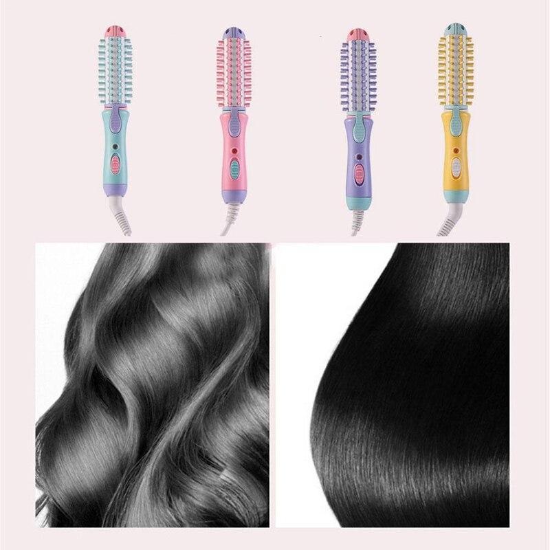 Купить с кэшбэком Electric Hair Styler Curler Curling Irons Dryers Travel Hair Straightener Ceramic Ionic Hair Curler Hot Brush Eu Plug