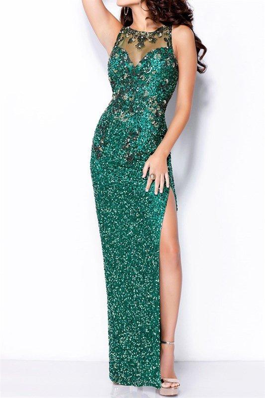 Sequins Mermaid Emerald Green Prom Dress With Slit On Left Floor Length Beading Vestido Longo De