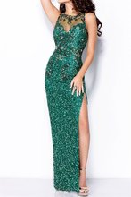 Sequins Mermaid Emerald Green Prom Dress With Slit On Left Floor Length Beading Vestido Longo De Festa Sleeveless Beading Dress